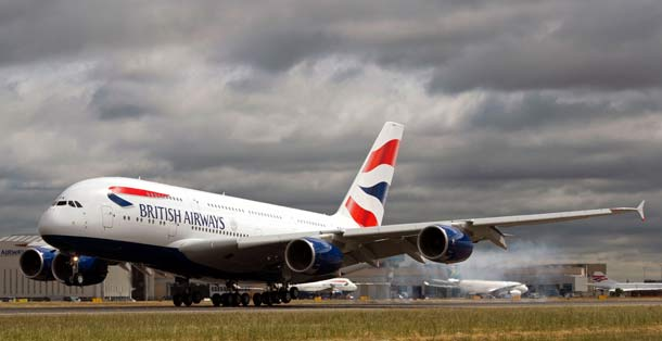 Airbus A380 on British Airways bei der Landung