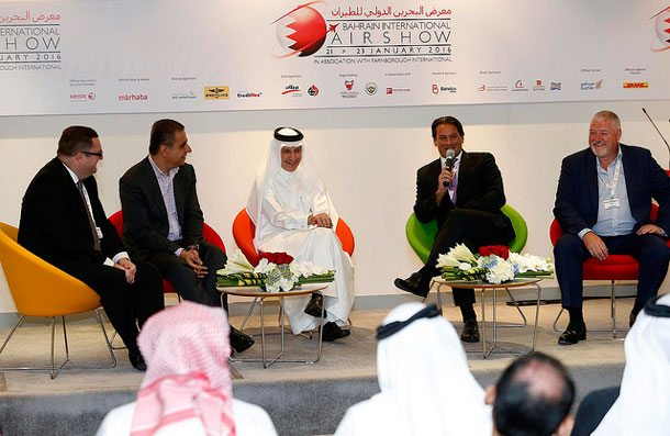 "Qatar Airways-CEO Akbar Al Baker sprach im Rahmen der ""Air Transport in the 21st Century"" in Bahrain mit Kuwait Airways CCO, Philip Saunders; Air Arabia's CEO, Adel Ali; Lufthansa German Airlines VP Sales & Services Middle East, Africa & Southeast Europe, Tamur Goudarzi-Pour und Flynas' CEO Paul Byrne über die Zukunft der Luftfahrt"